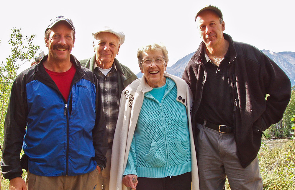 Lance, Mal, Joan, and Ross Miller in Atlin, BC.  Photo by Lance Miller.