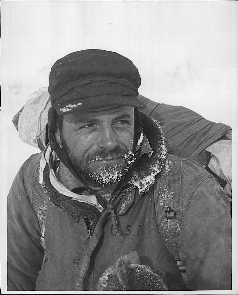 Dr. Maynard Malcolm Miller on a Juneau Icefield Expedition in November, 1953.  Photo by Ira Spring.