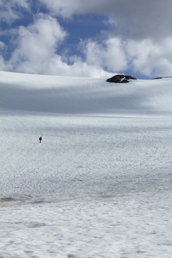 Matt Pickart hikes up the Ptarmigan Glacier to Camp 17. (Photo by Zach Miller