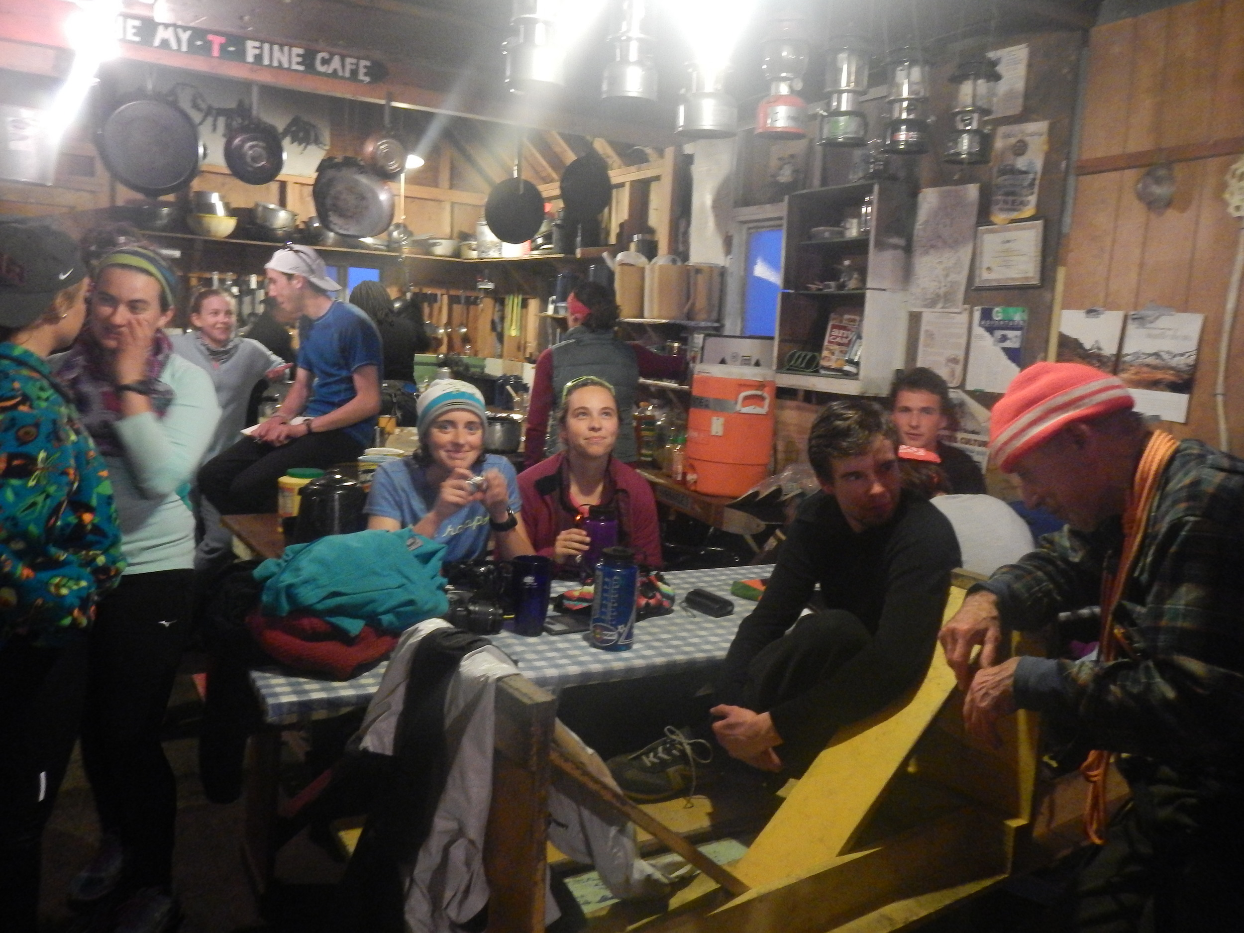 Everyone recaps a great day in the cook shack at C-17.