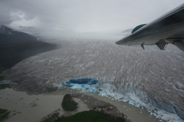 Flying over the west end of the Taku terminus, eroded by runoff from the Norris glacier.