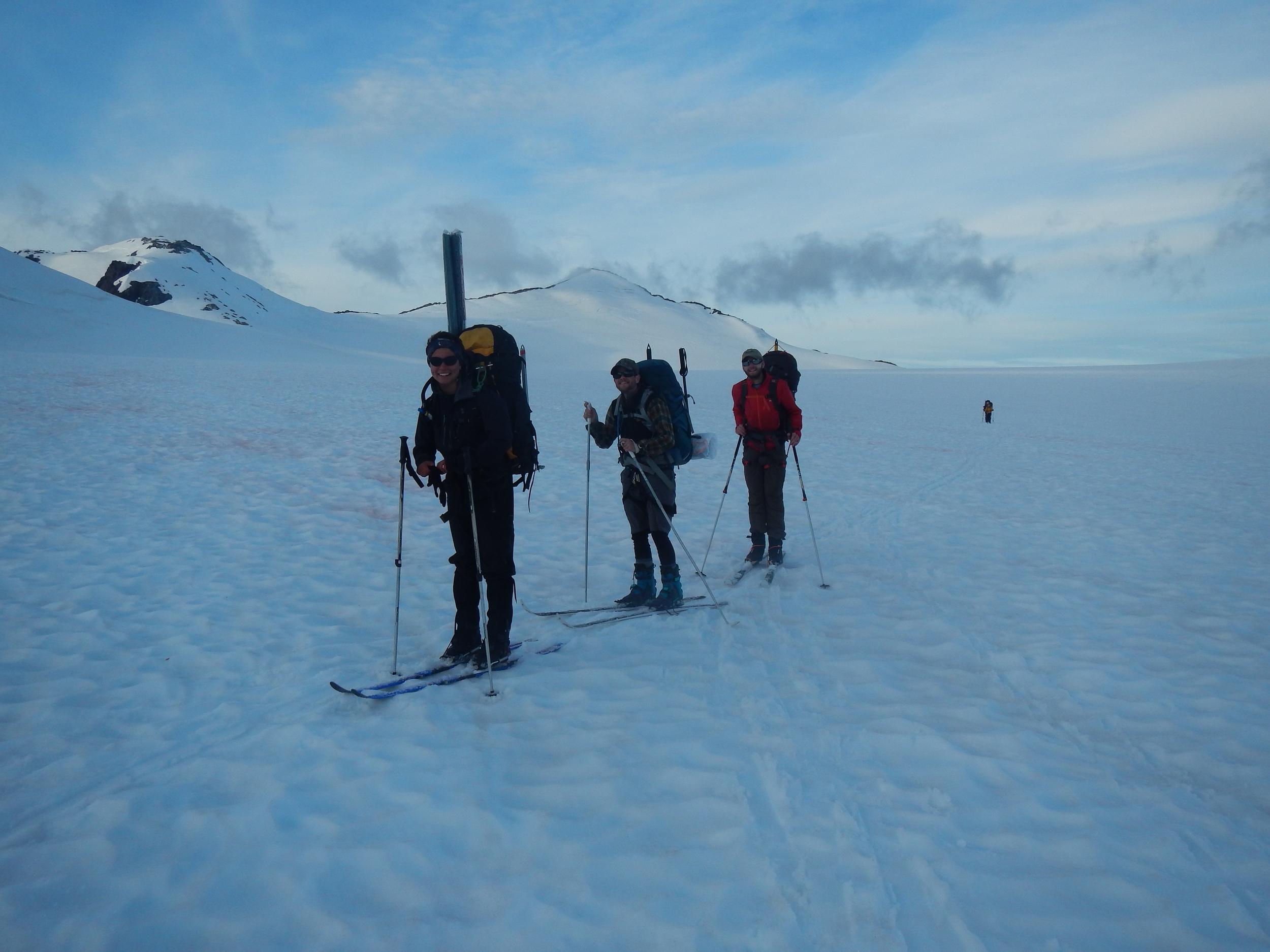Kirsten, Elias, and Alex beginning the traverse. Photo by Elizabeth Kenny