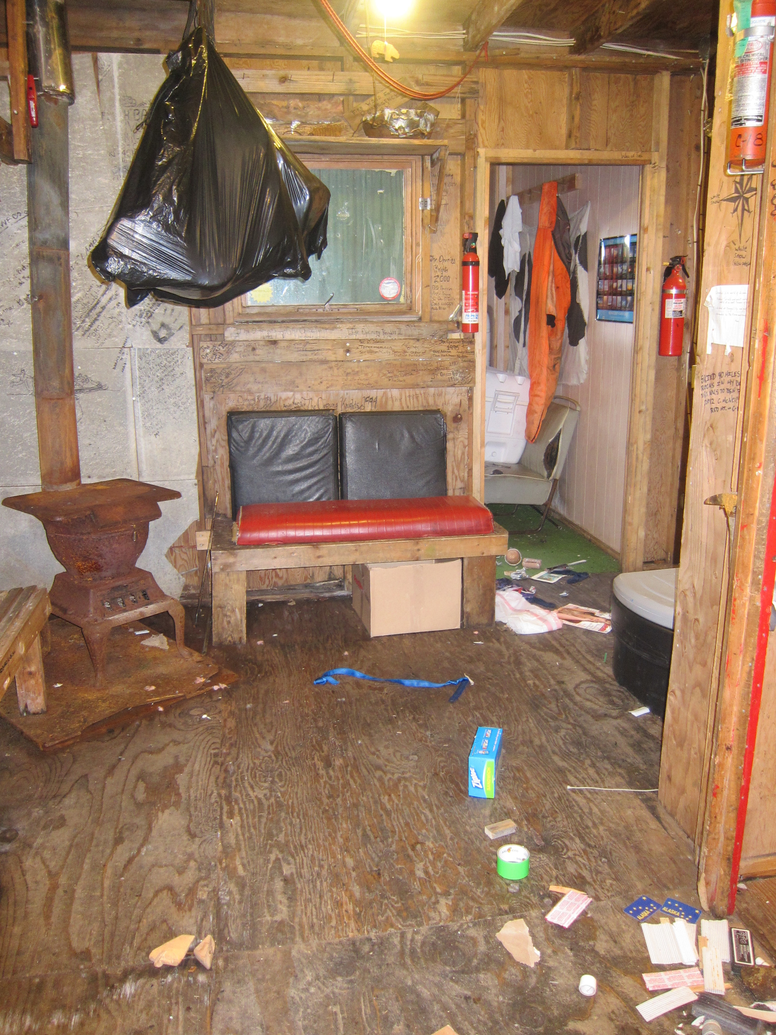 The wood stove area before cleaning.