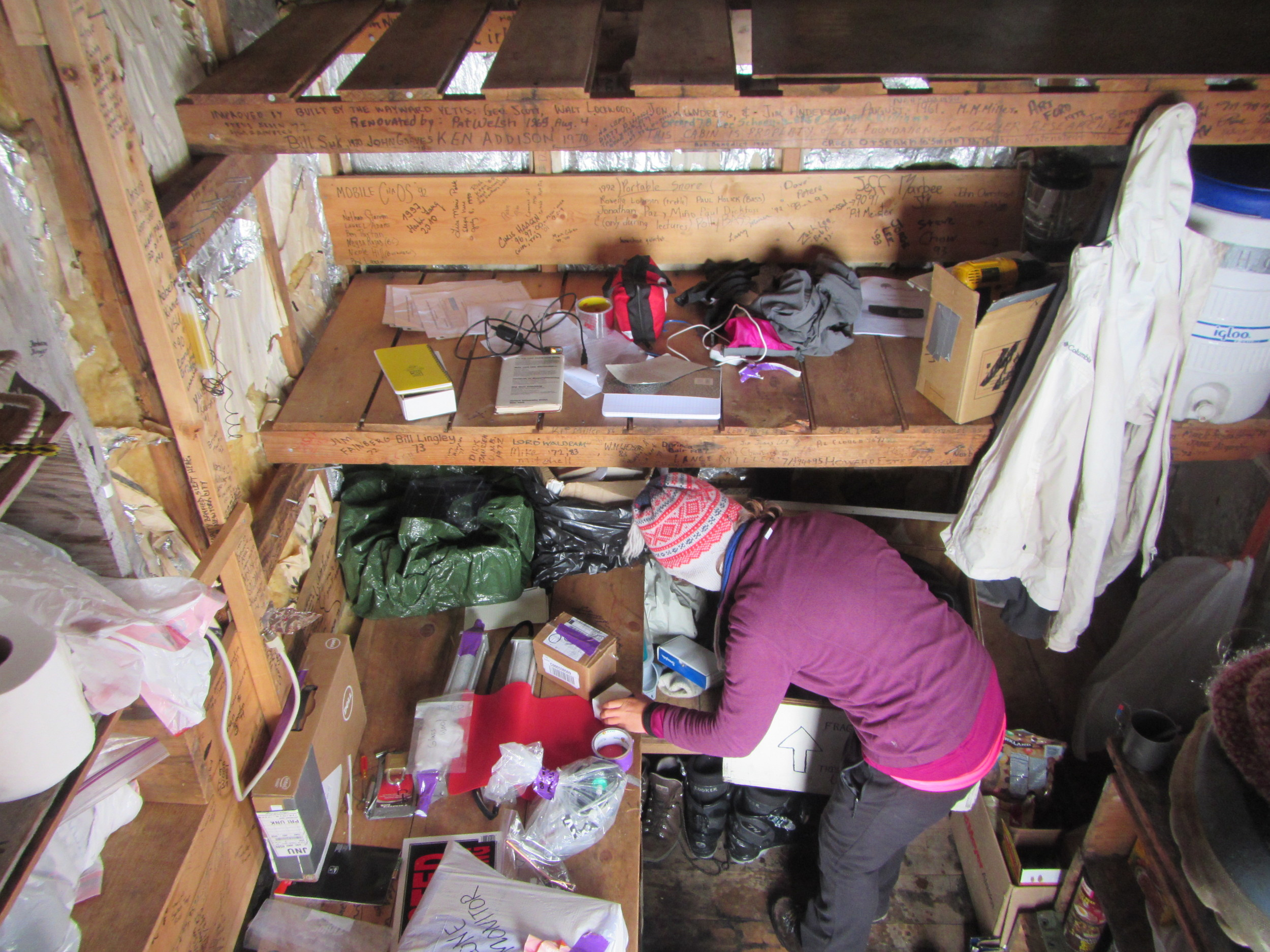 Packing up Camp 9 after the generator died.  photo by Gillian Rooker