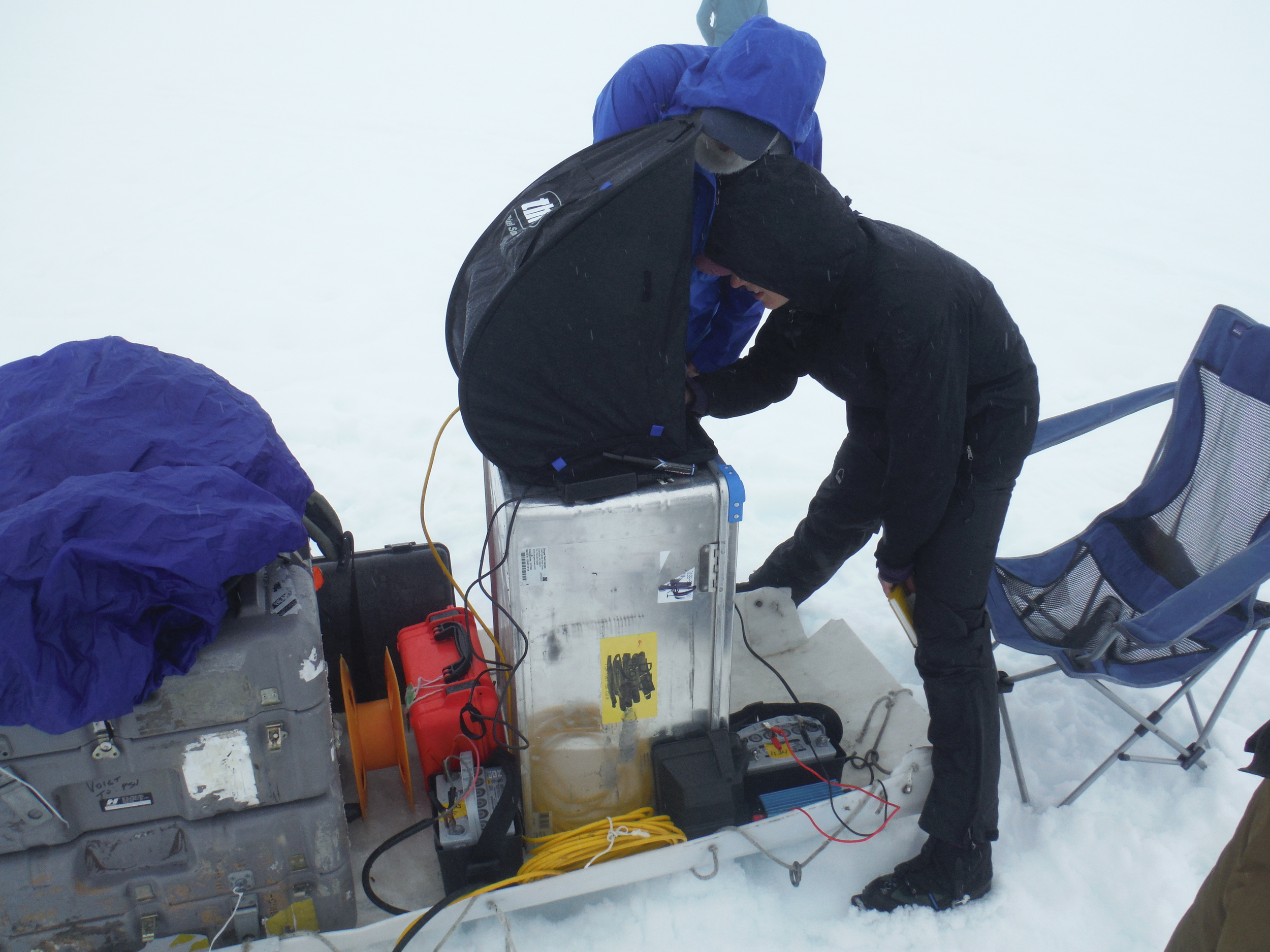 One of several temporary seismic stations.  Don Voight - left, Kiya Riverman - right;  photo by Dan King