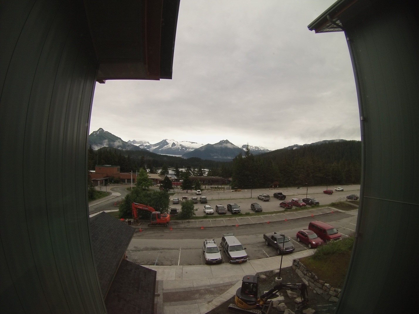 View from UAS Residence Hall of Auke Lake with the Mendenhall Glacier in the background. Photo by author.