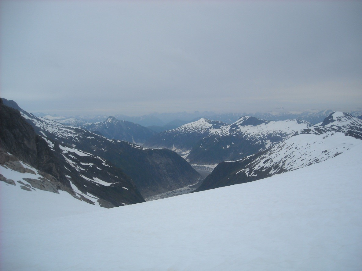 A view from Camp 17 looking towards the dead branch of the Norris Glacier. Photo by author.