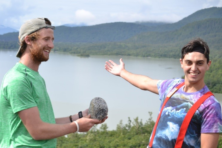 Tadhg (left) and James (right) show Balboa to his first proglacial lake. Photo by author.