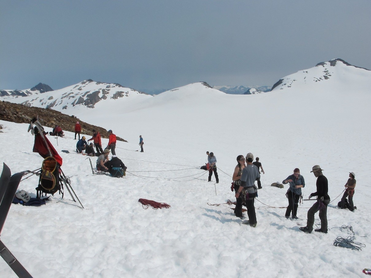 Students practice making pulleys and anchors on the Lemon Creek Glacier. Photo by Allie Strel.