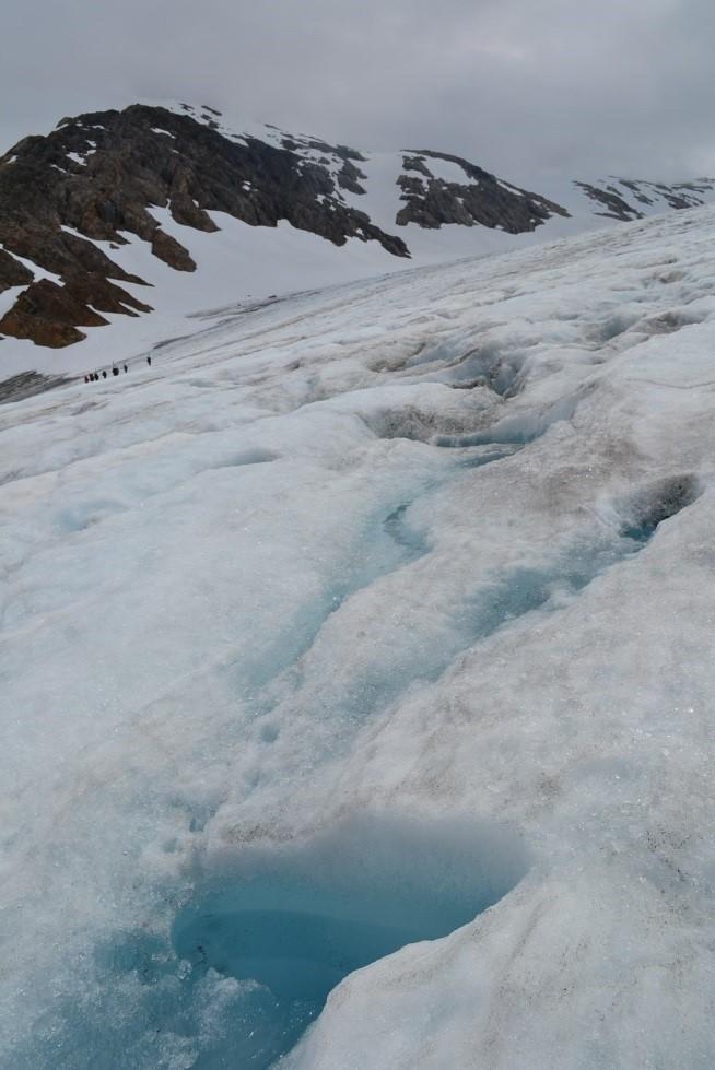 Supraglacial water seen in the ablation zone of the Lemon Creek Glacier. (Photograph by Joel Wilner)