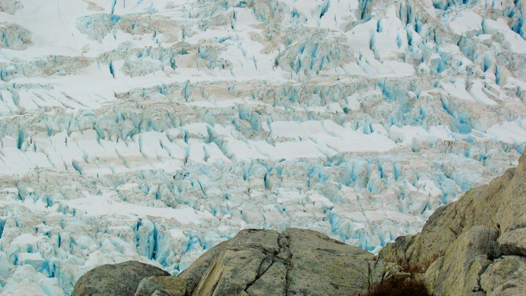 Field of crevasses near our Camp 18 nunatak. Photo by author.