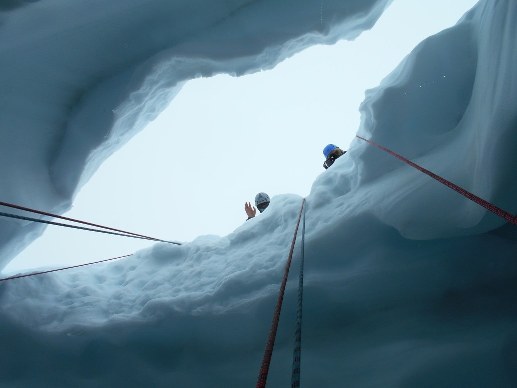 Looking up, out of the crevasse. Photo by Lara Hughes