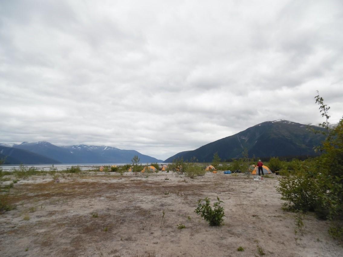 Camp at the Taku terminus. Photo: Mickey MacKie