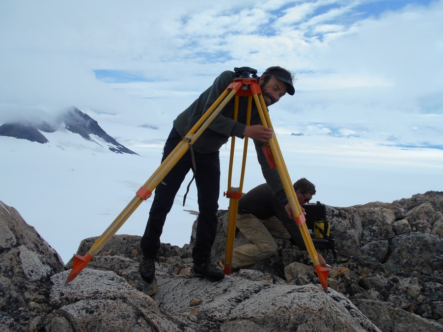 Bjorn setting up a benchmark, which is used to correct for error given by satellites. Photo by Lara Hughes-Allen.