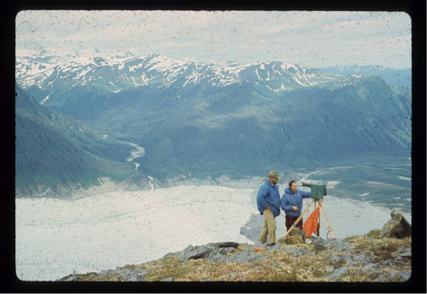 Dr. Konecny and myself (in the hat) using the Tellurometer to tie back to the Juneau Airport geodetic monument