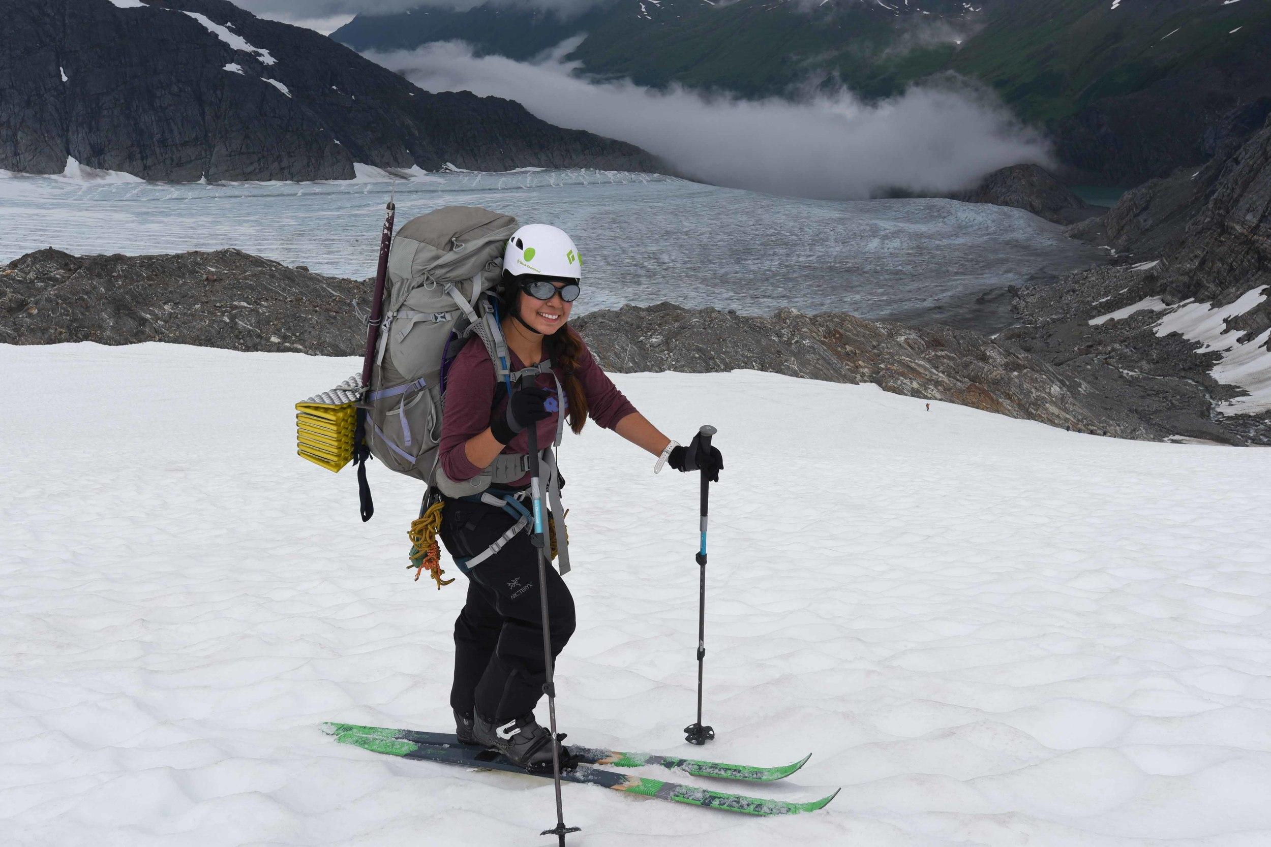 Author Shawnee Reynoso heading out on the Camp 17 to Camp 10 traverse. Photo courtesy of PBJ Photography.