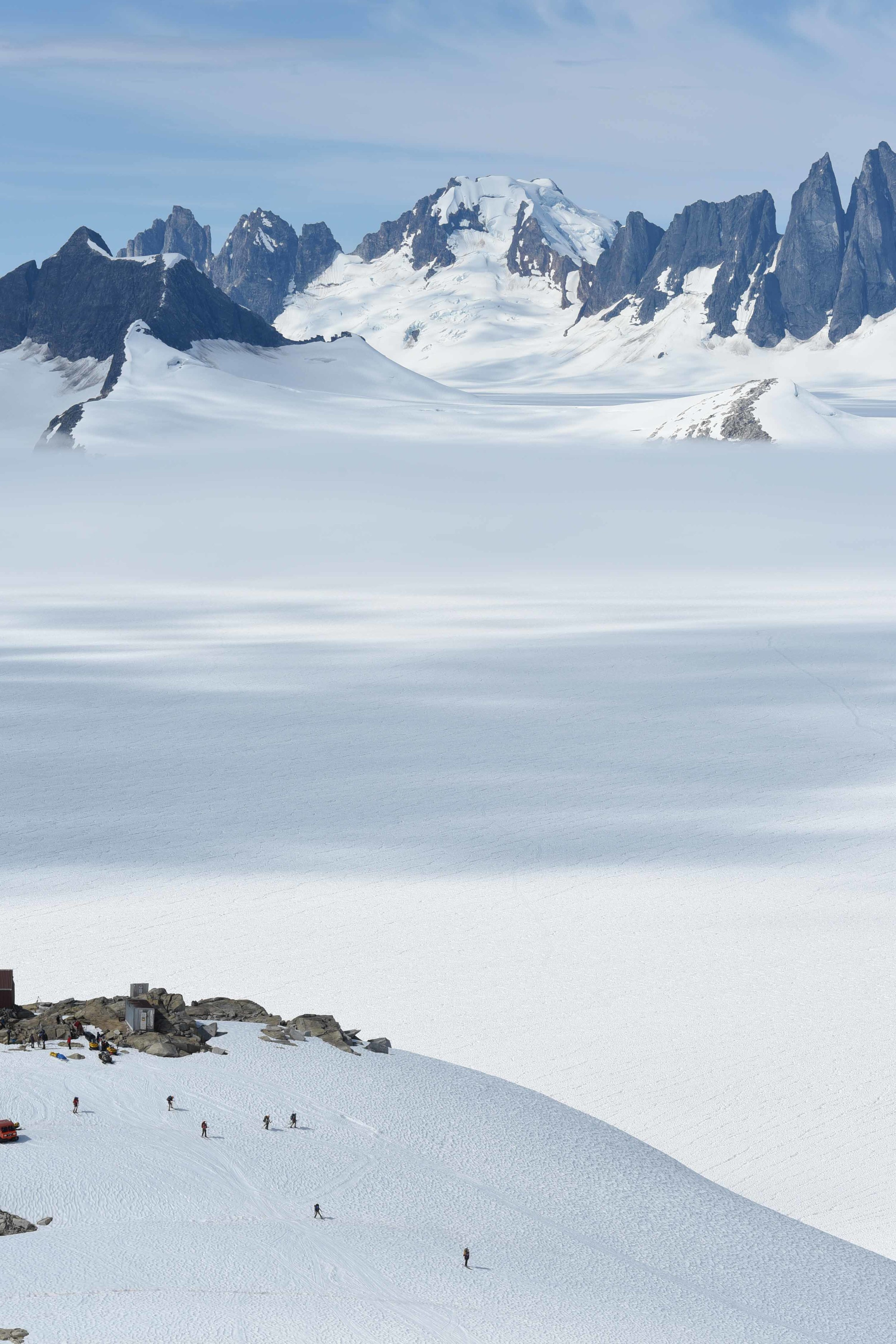 Tiny camps on islands of rock in fields of snow. Photo courtesy of PBJ Photography.