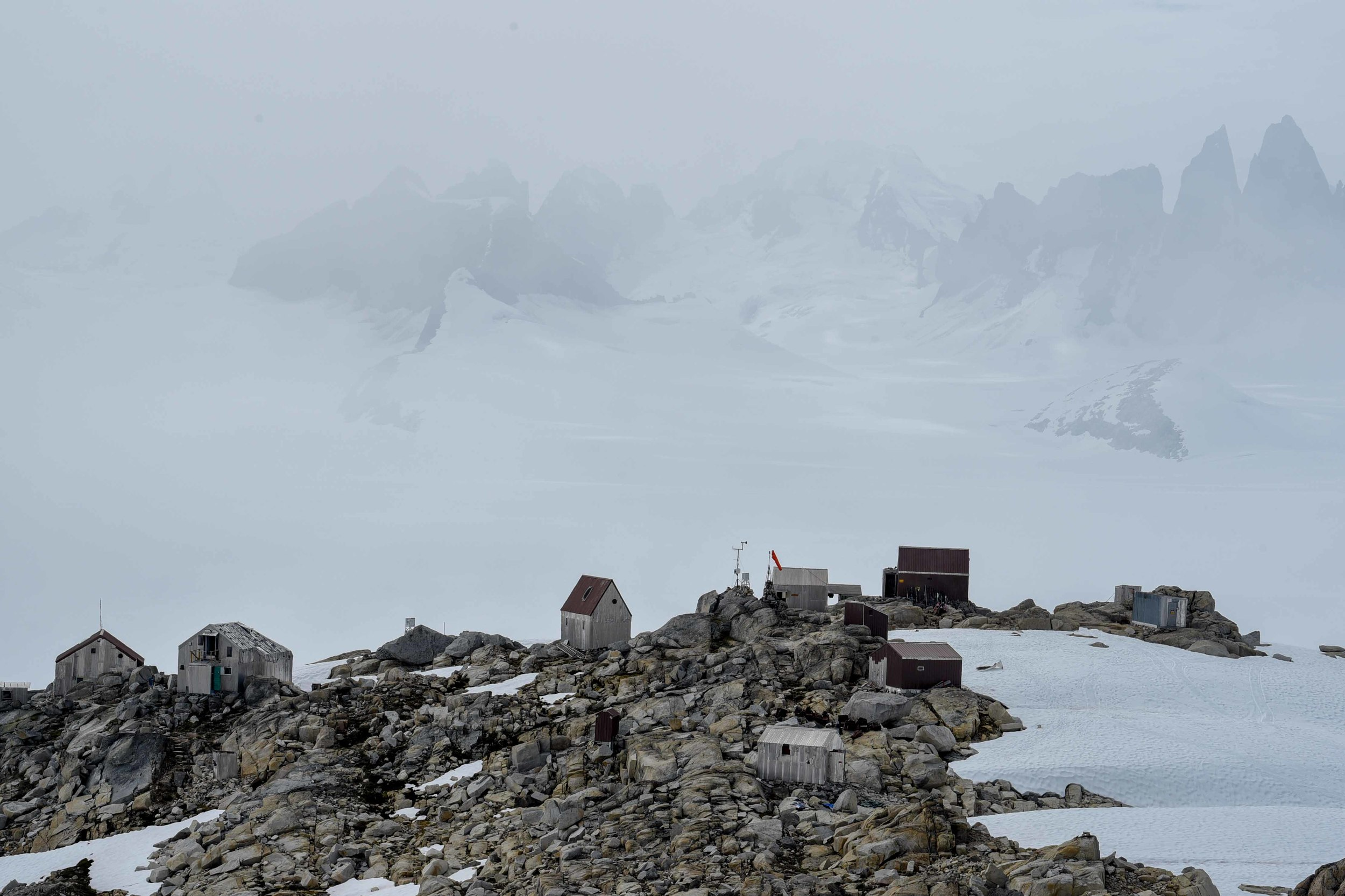 Camp 10 with the Taku Range in the mist beyond. Photo courtesy of PBJ Photography.