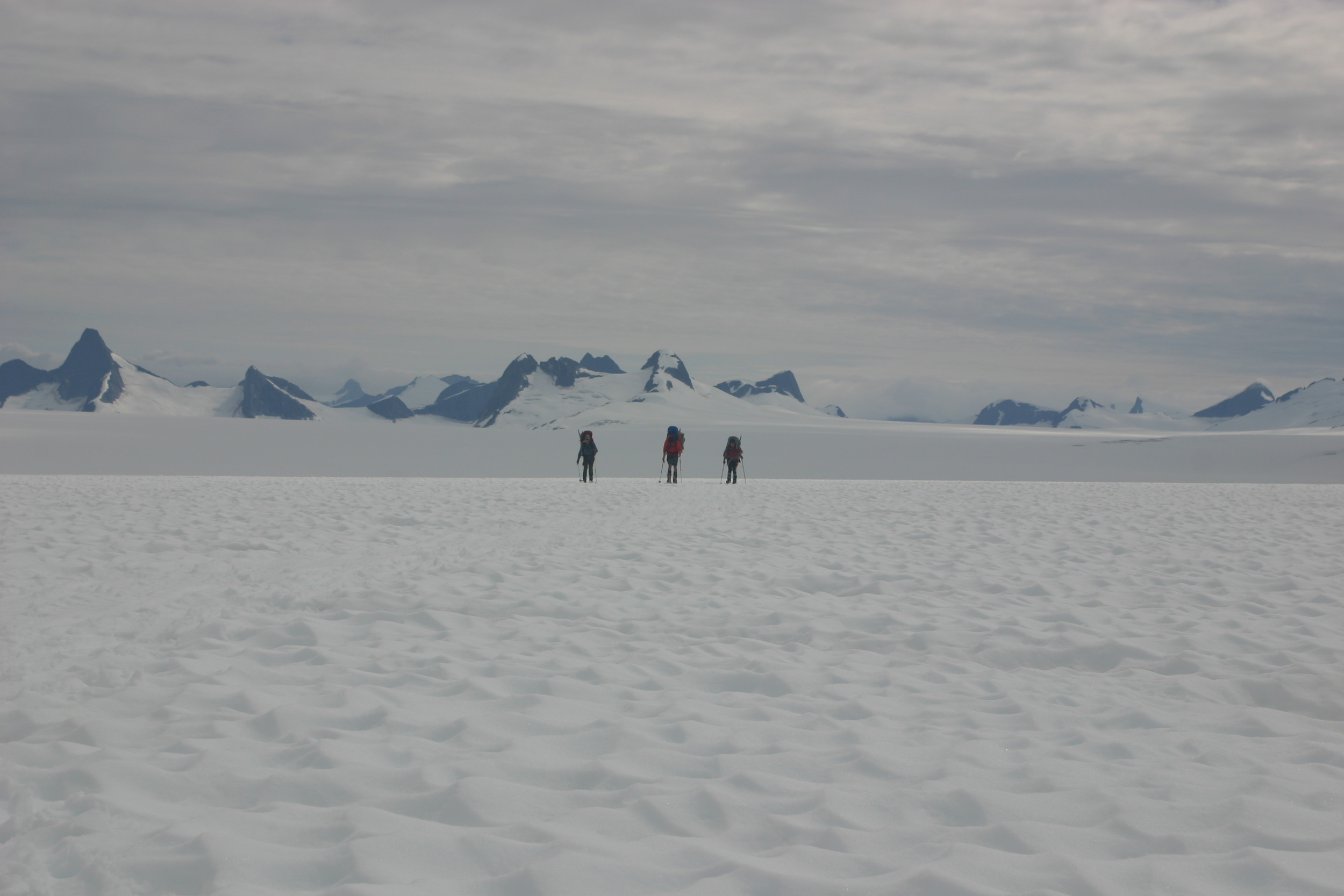 Completing the two-day traverse from Camp 17 to Camp 10. Photo by Catharine White.