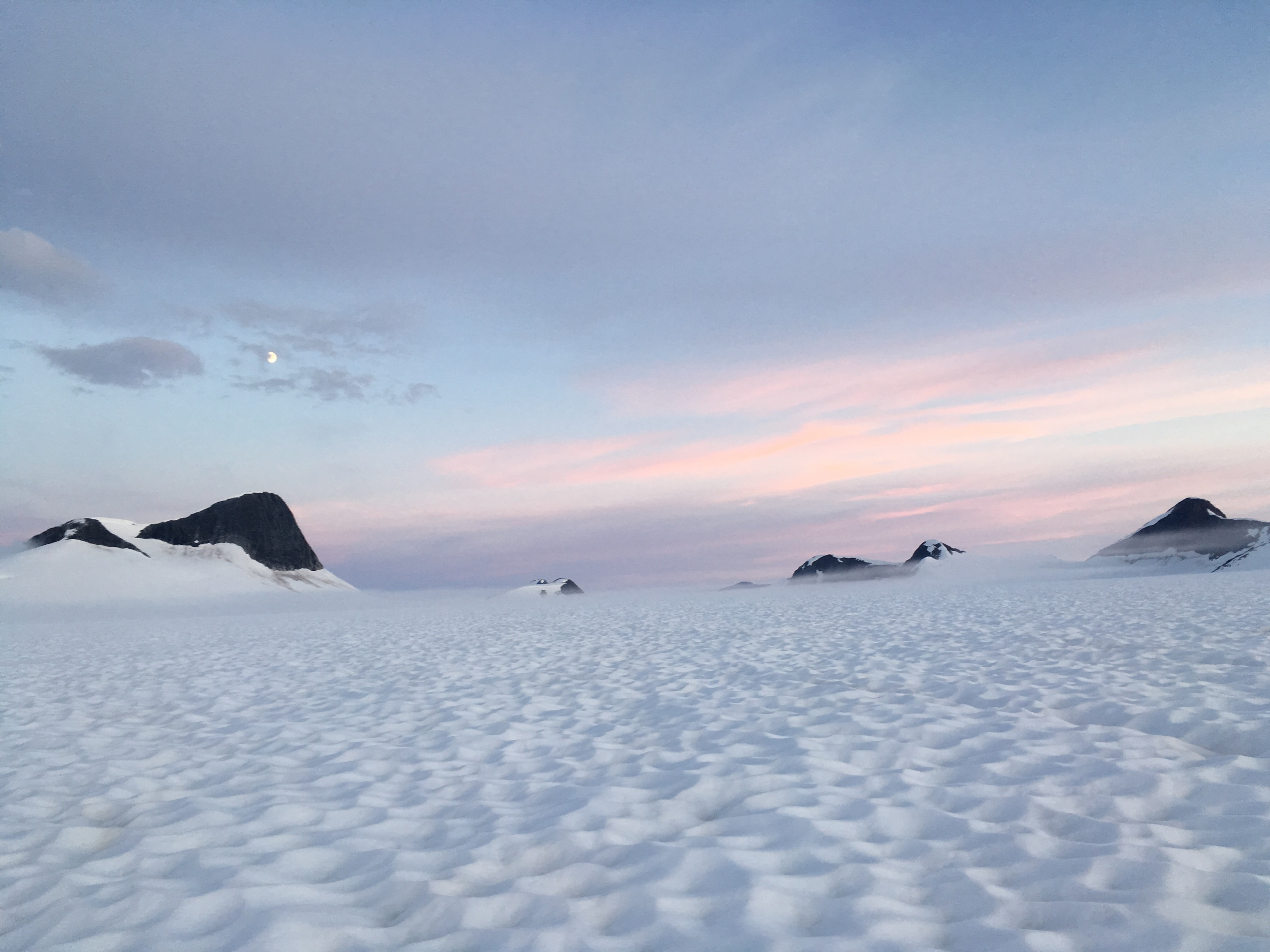 Sunset on the Southwest Branch of Taku Glacier - two days on foot from Juneau. Photo by Evan Koncewicz.