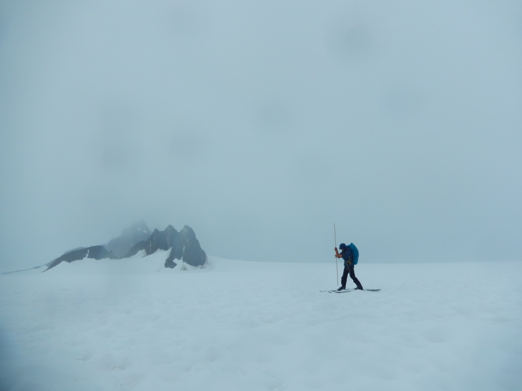 Olivia Truax collects snow depth data on the Northwest branch of Taku Glacier. Photo: Kate Bollen