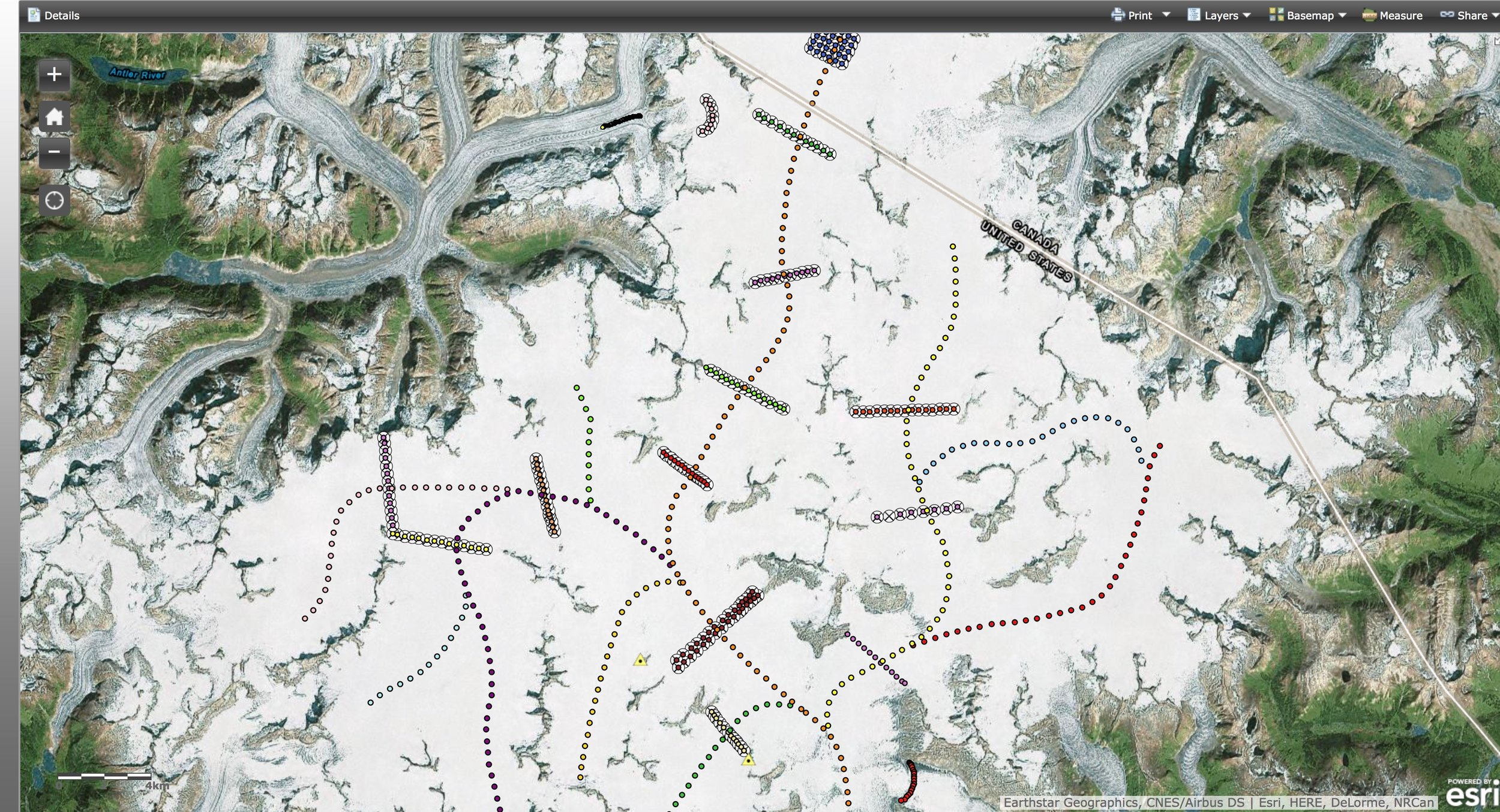 A map of the center of the Juneau Icefield with GPS survey profiles. The longitudinal profiles are represented with the dots running down the center lines of the glaciers. The transverse profiles are the block line sections running perpendicular to the longitudinal profiles. By collecting different data along both types of transects, we can paint a picture of elevation change over the entire area.