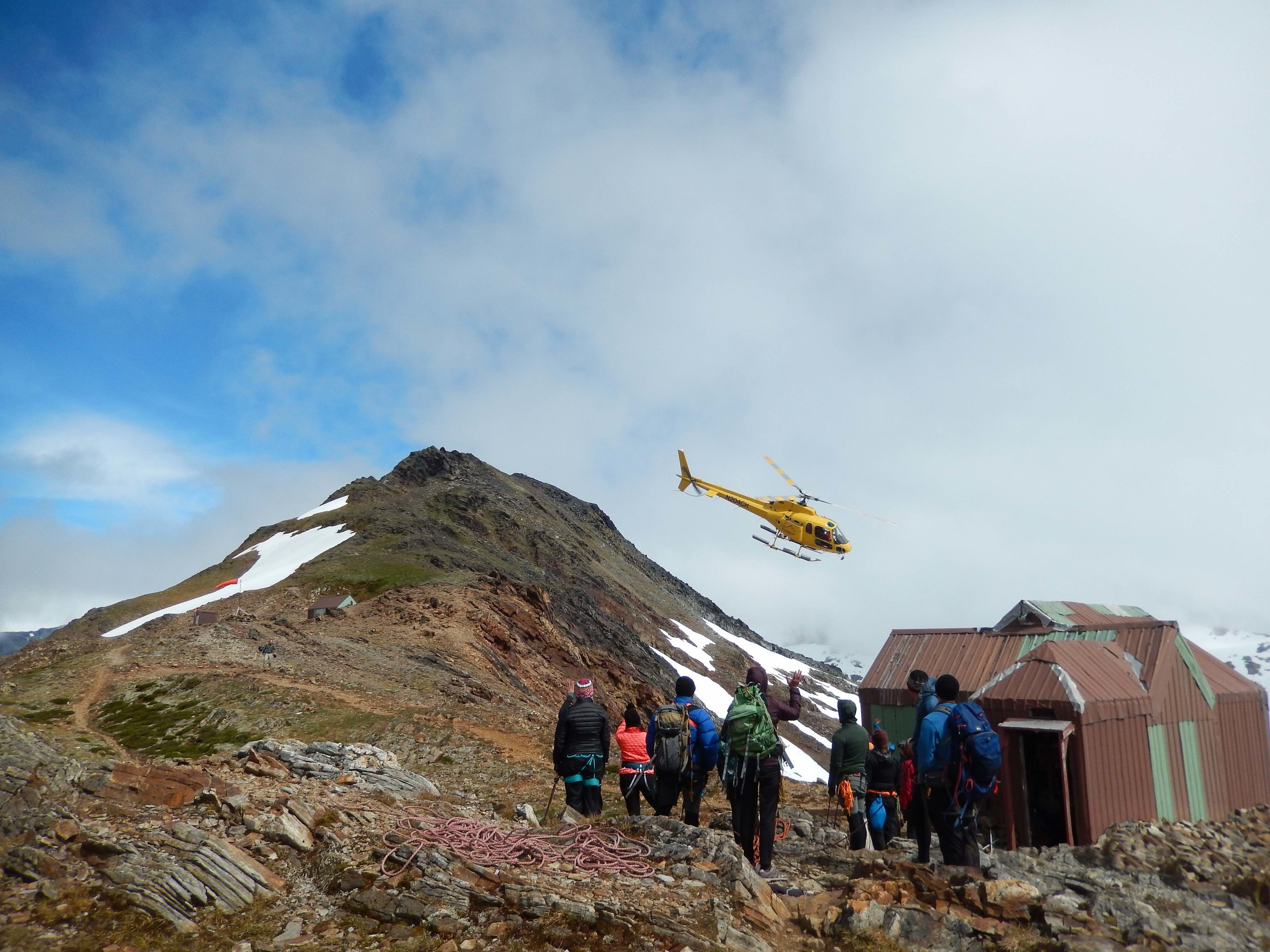 Coastal Helicopter bringing us new supplies and personnel at Camp 17. Photo by Annie Zaccarin.