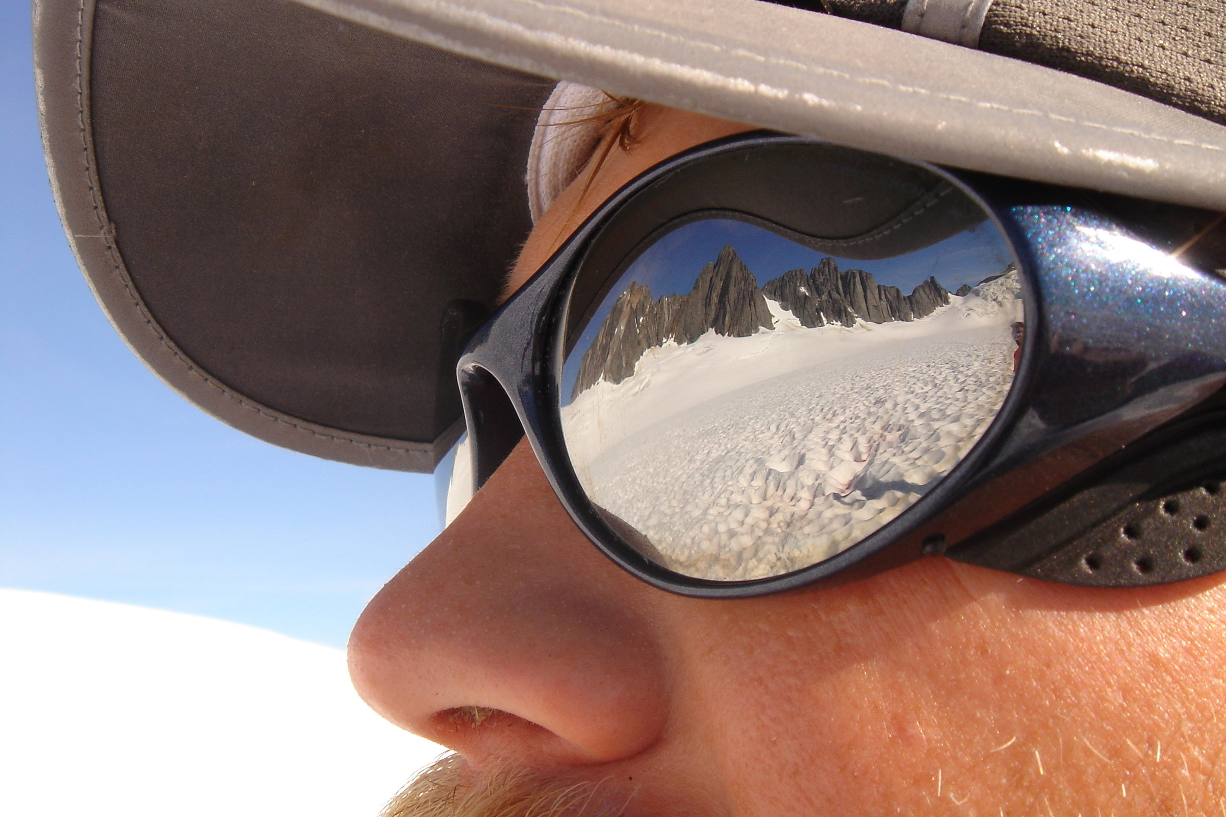 It's perhaps impossible to overstate the importance of having good sunglasses for eye protection during a summer on the Juneau Icefield. Photo: Matt Beedle