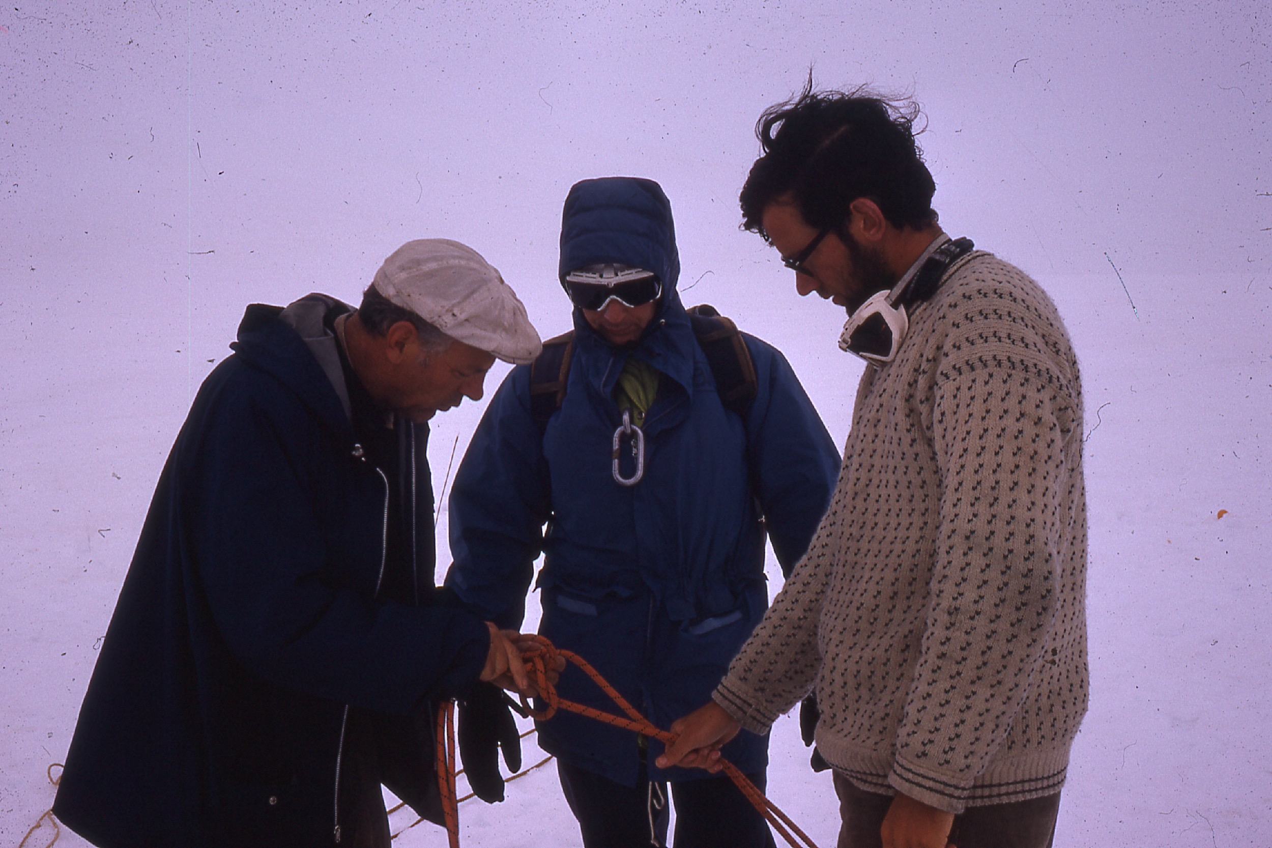 Dr. Maynard Miller instructs glacier travel techniques. JIRP 1970. Photo: M. Miller Collection