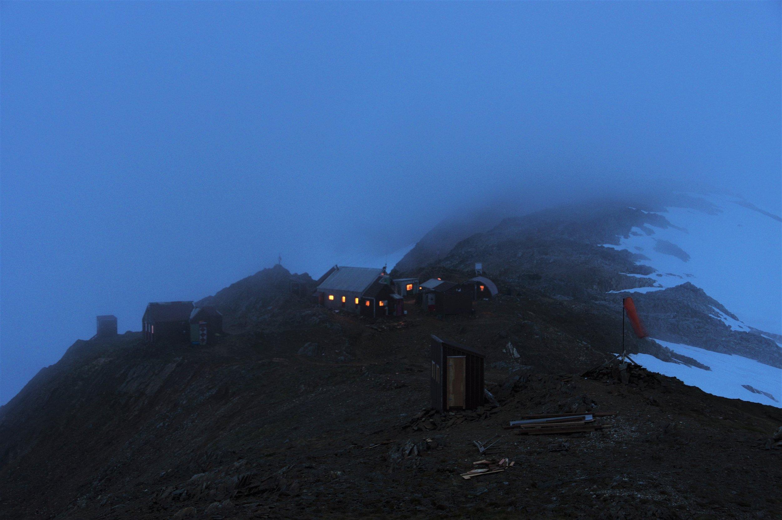 Camp 17 on a more common foggy day. Photo: Daniel Otto.