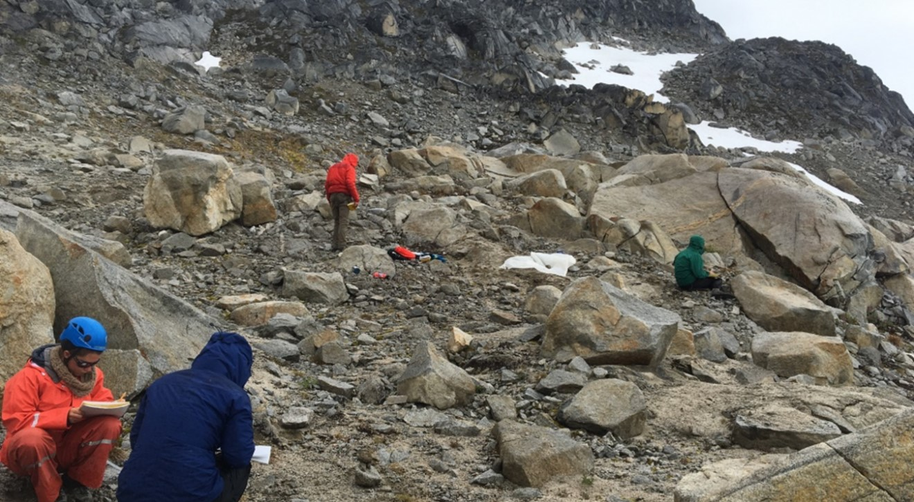 Collecting data at the study site at highest elevation with very little vegetation. Photo credit: Catharine White.
