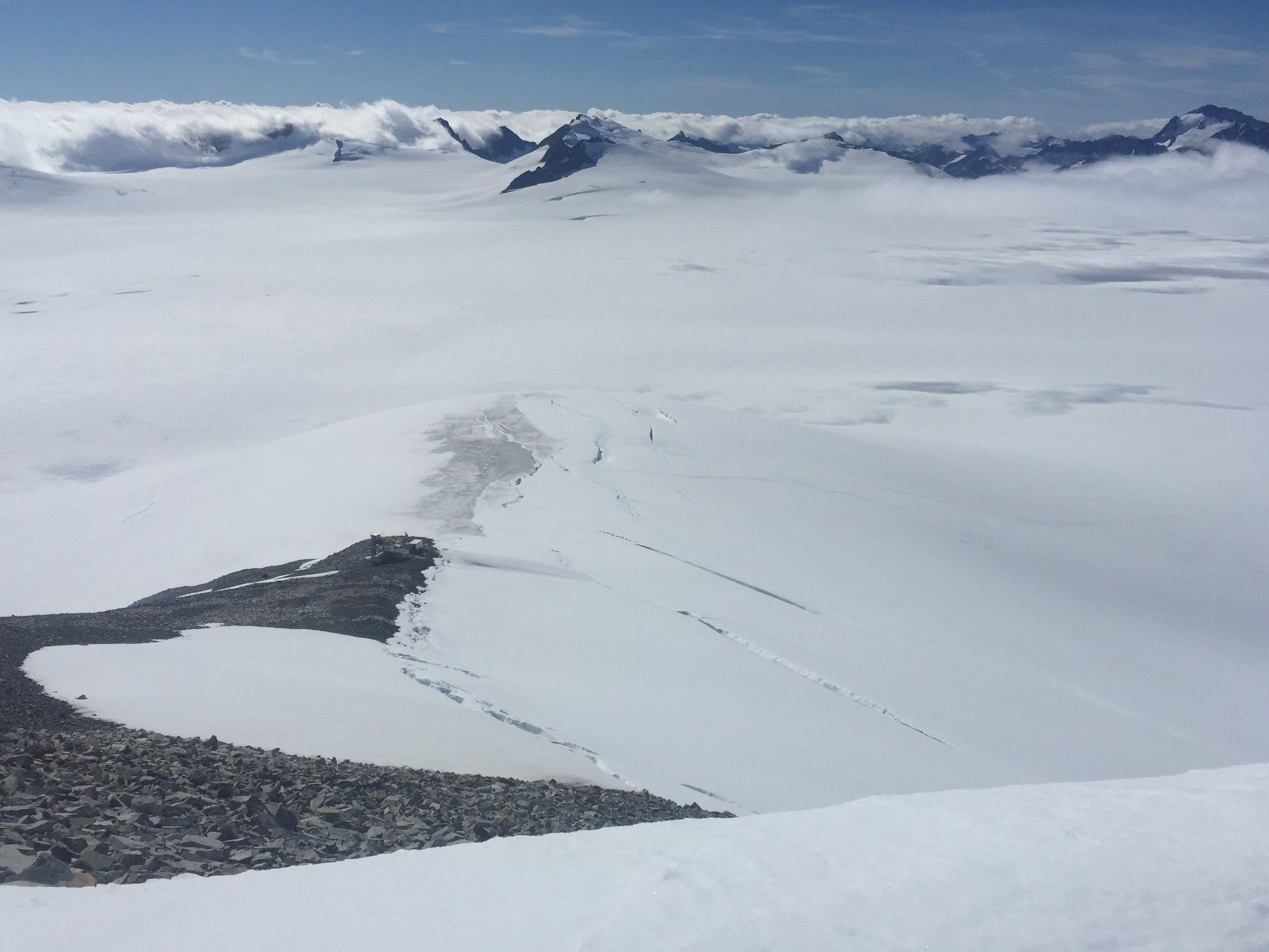 A view from the top of Mount Moore looking down on C8 and the route through the bergschrunds and crevasses. Photo: Amy Towell.