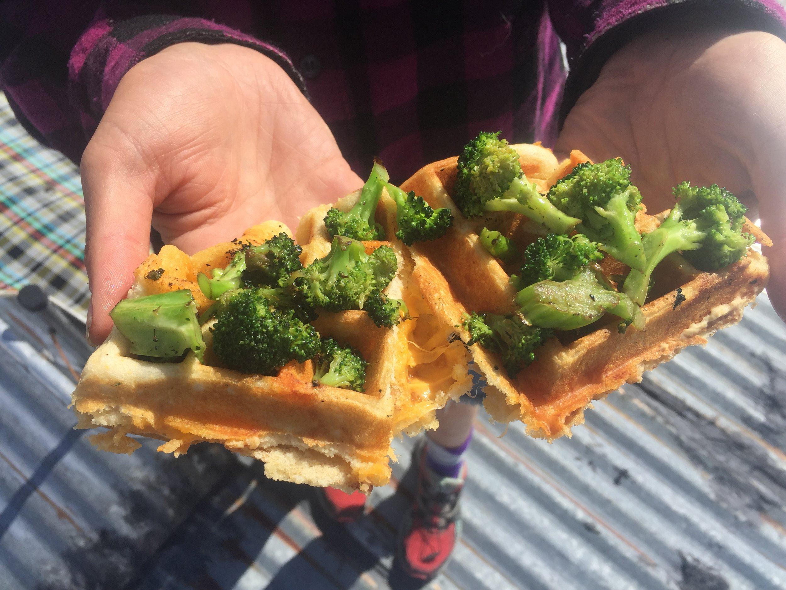 Our first dinner: cheesy, broccoli waffles. Photo: Amy Towell.