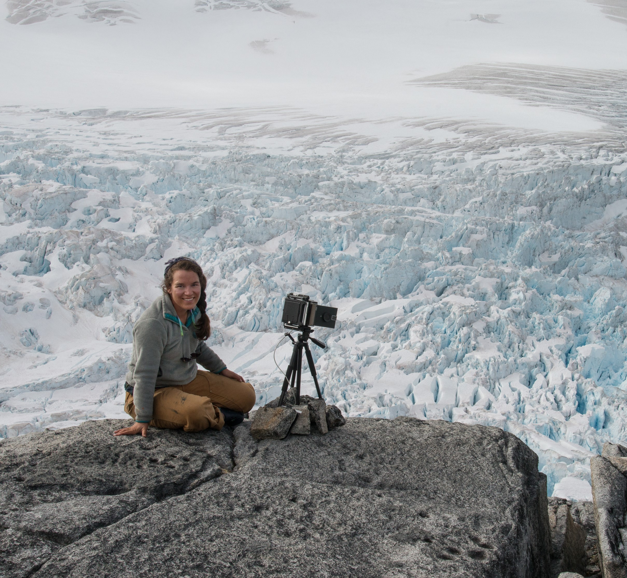 Hannah experiments with photography on cyanotype paper over the Vaughan Lewis Icefall. PC: B. Huff.