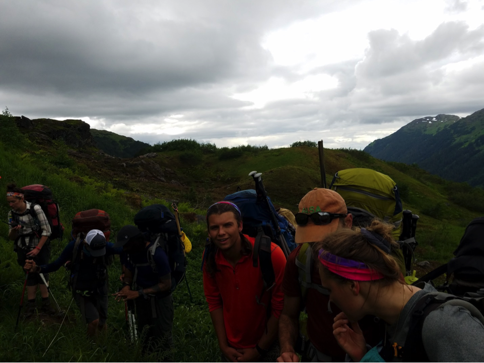 A trail party idles in the low alpine ecosystem. Photo credit: Annie Chen.