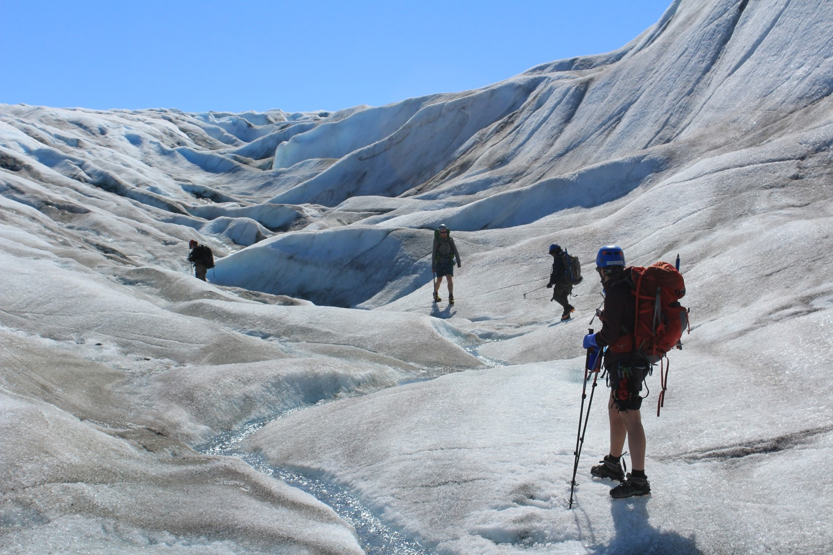 Biogeochemistry students traverse a supraglacial stream on the bare ice of the Llewellyn Glacier, looking for a good place to collect meltwater samples. Photo credit: Evan Koncewicz.