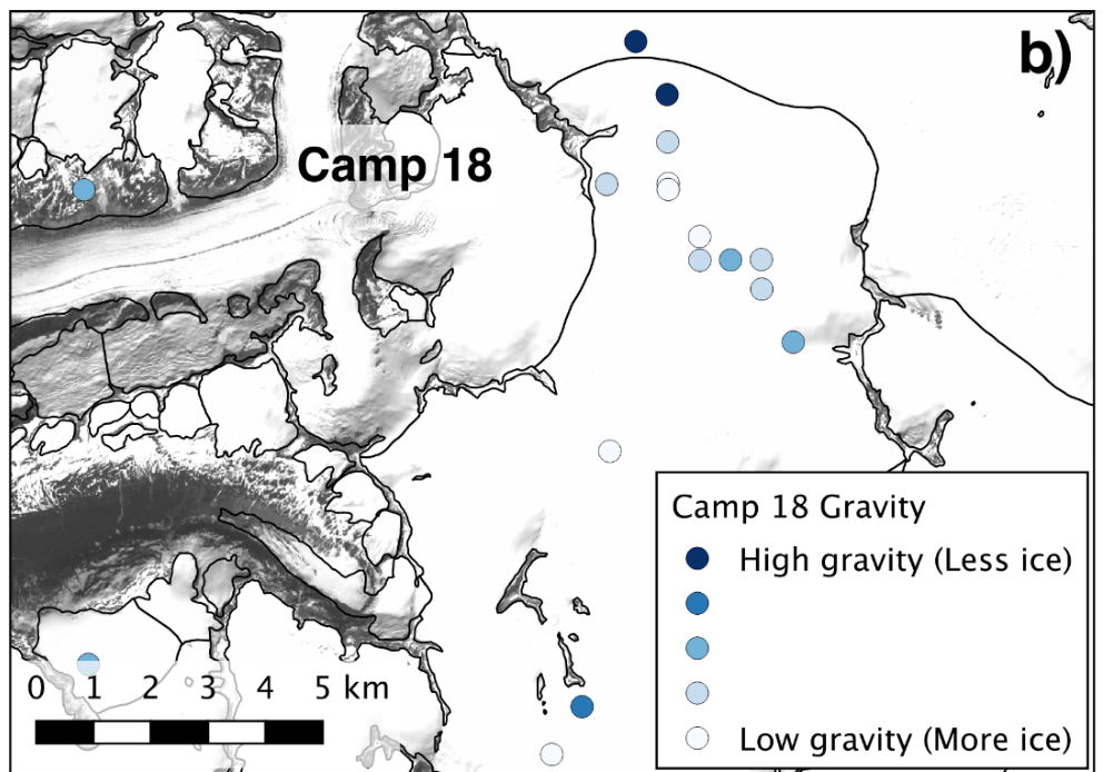 A map of graviemetric sample sites on the Vaughan Lewis and Matthes Glaciers.