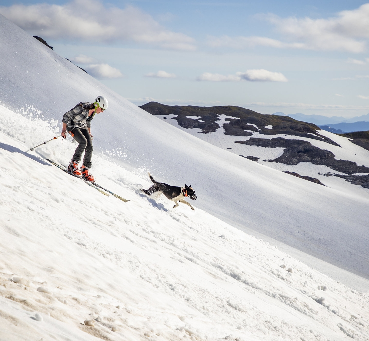 Dixie and Annie go for an evening ski on the Ptarmigan Glacier. Photo: Andrew Opila.