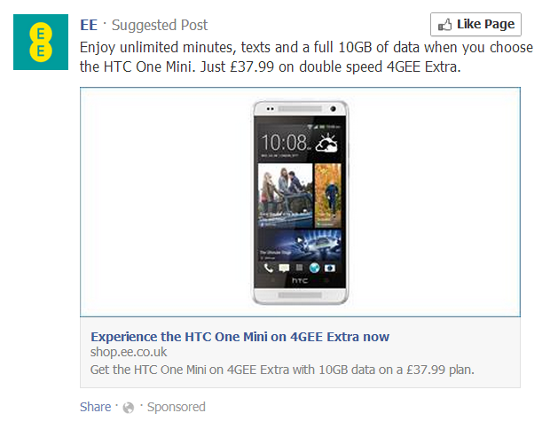 Exemple erreur de pubs Facebook - HTC one Mini