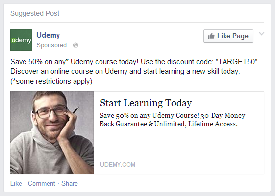 Exemple erreurs de pubs Facebook - Udemy