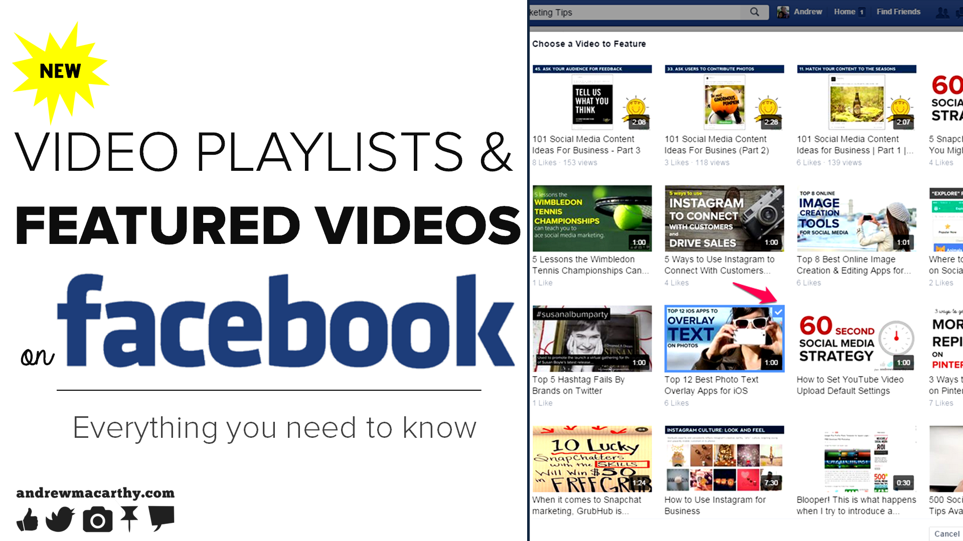 How to Make Video Playlists and Add A Featured Video on Facebook Pages