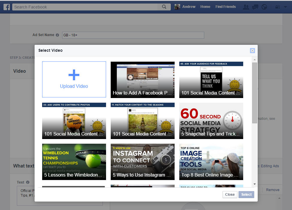Selecting an existing Facebook video to run as ad.
