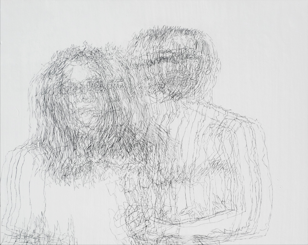"""Double Portrait, Gen, Jaye and Overlap #3"" 2012.  Traditional Gesso And Transferred Crayon On Wood Panel (16x20"")"
