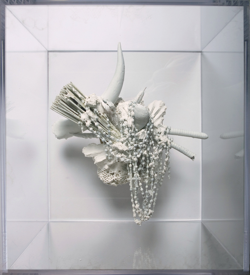 """Affiliation #1"" 2011  Mixed Meida, Plaster and Vandalism In Plexiglas Box (17.5x13.5x19.5"")"