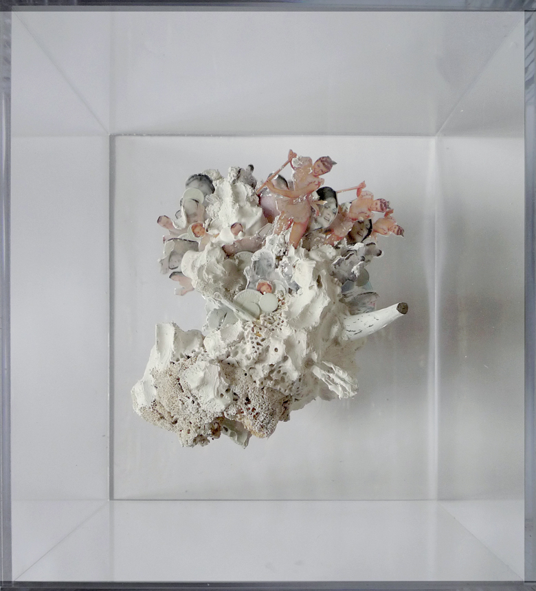"""Gender #1"" 2011  Mixed Media Plaster and Vandalism In Plexiglas Box (17.5x13.5x19.5"")"