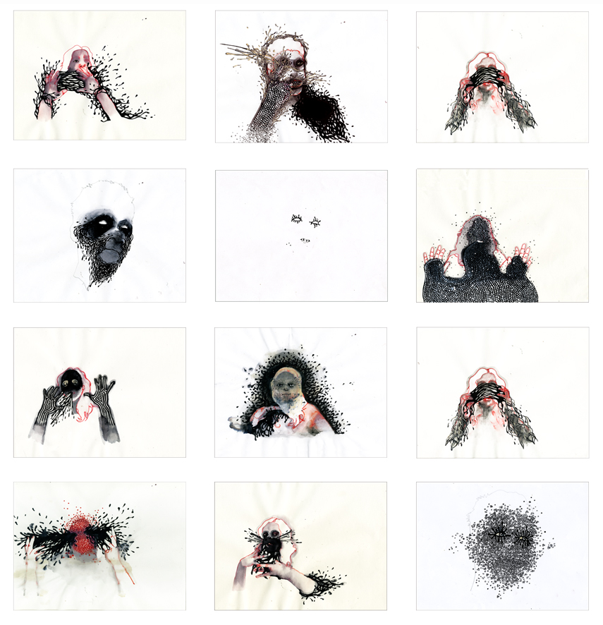 """""""My Portrait Of Your Identity, Your Portrait Of My Identity. Lucie"""" 2008  Drawings. Installation View."""