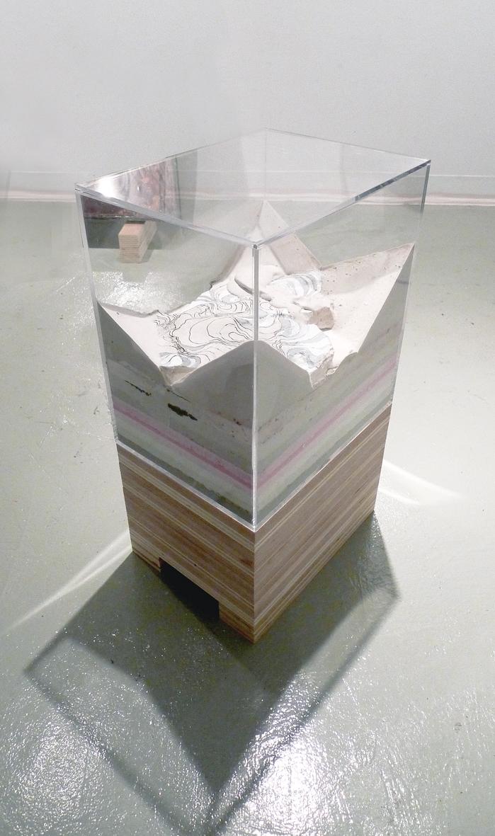"""Glacier Section"" 2009   Plaster in Plexiglas Box (18x12x12"")"