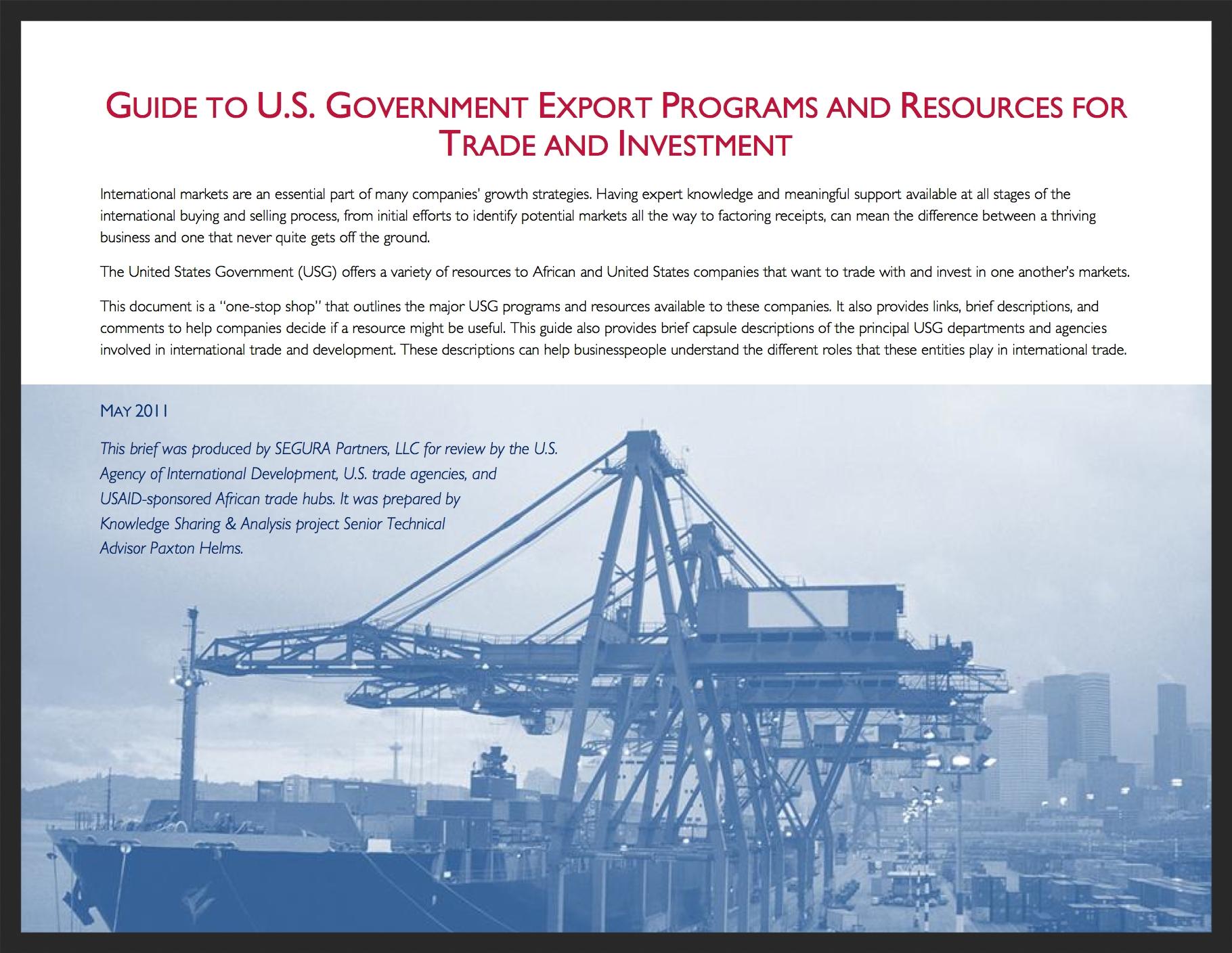 Guide to U.S. Export Resource Programs Handout