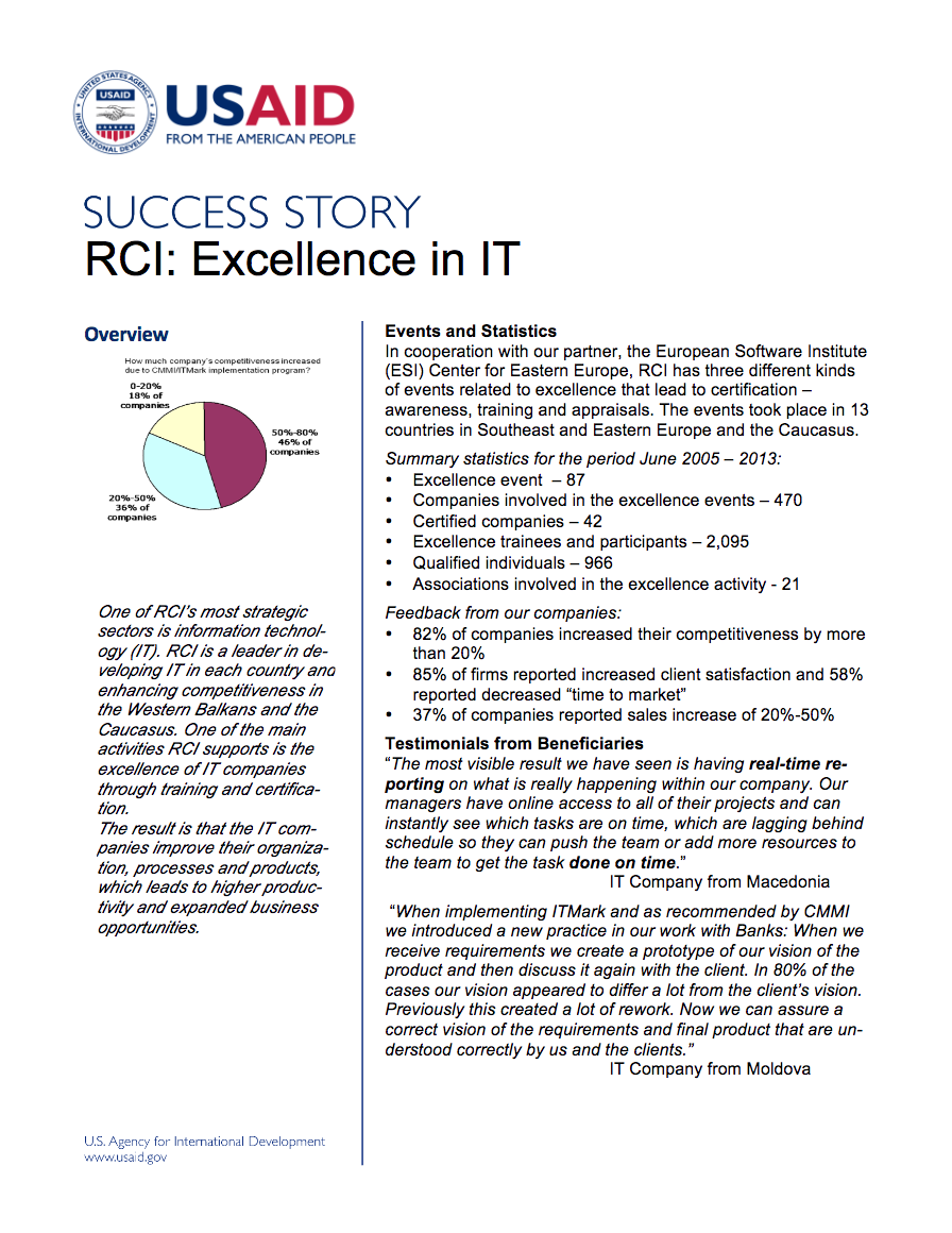 RCI Excellence in IT - click to view/download