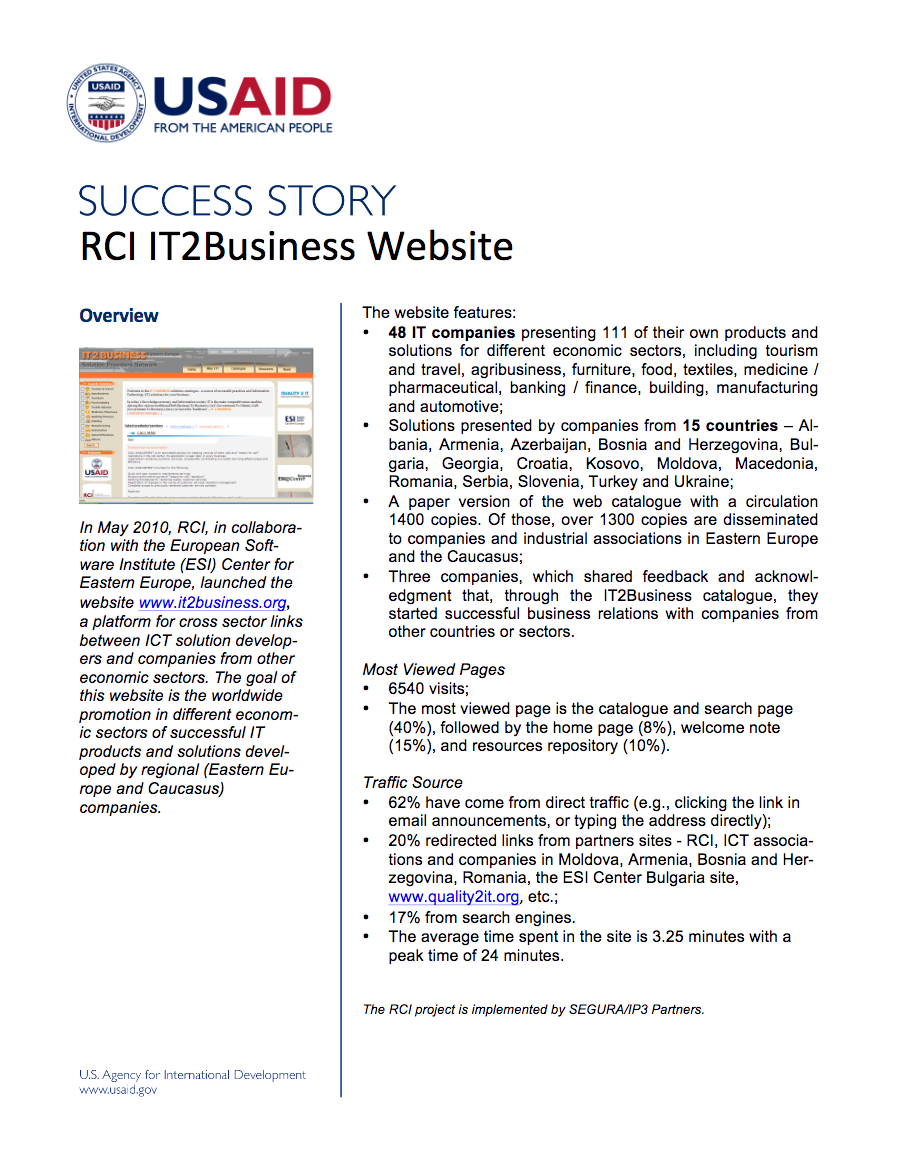 RCI IT2Business Website - click to view/download